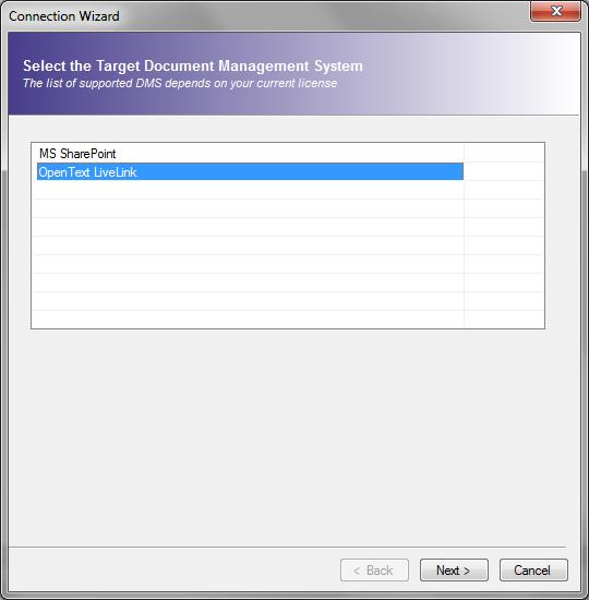 Select LiveLink as target system for migration
