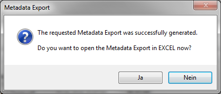 Export Metadata Result dialog / open in Excel
