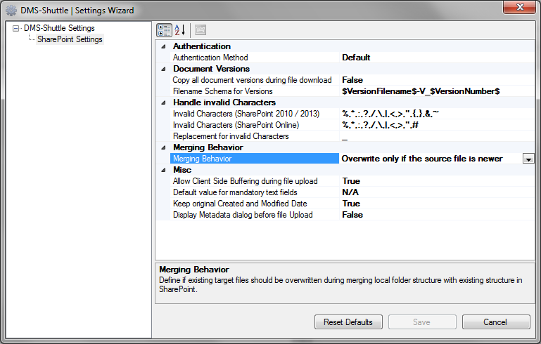 sharepoint migration settings wizard